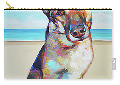 German Shepard On The Beach Carry-all Pouch
