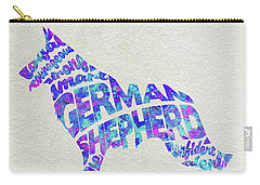 Carry-all Pouch featuring the painting German Shepherd Dog Watercolor Painting / Typographic Art by Ayse and Deniz