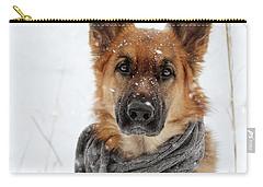 German Shepherd Wearing Scarf In Snow Carry-all Pouch