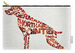 Carry-all Pouch featuring the painting German Shorthaired Pointer Watercolor Painting / Typographic Art by Ayse and Deniz