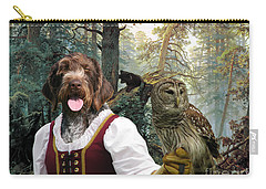 German Wirehaired Pointer Art Canvas Print - Lady Owl And Little Bears Carry-all Pouch