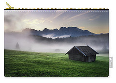 Geroldsee Forest With Beautiful Foggy Sunrise Over Mountain Peaks, Bavarian Alps, Bavaria, Germany. Carry-all Pouch