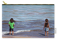 Carry-all Pouch featuring the painting Getting Their Feet Wet by Shawna Rowe