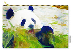 Carry-all Pouch featuring the painting Giant Panda Bear Eating Bamboo by Lanjee Chee