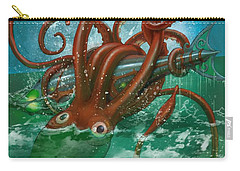 Giant Squid And Nautilus Carry-all Pouch by Andy Catling