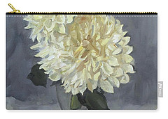 Giant White Dahlias In Wine Glass Carry-all Pouch