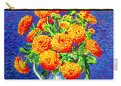 Gift Of Gold, Orange Flowers Carry-all Pouch by Jane Small