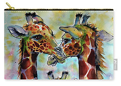 Carry-all Pouch featuring the painting Giraffe Family by Kovacs Anna Brigitta