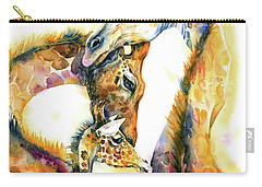 Carry-all Pouch featuring the painting Giraffe Family by Zaira Dzhaubaeva