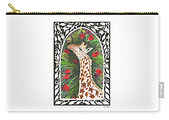 Carry-all Pouch featuring the painting Giraffe In Archway by Lise Winne
