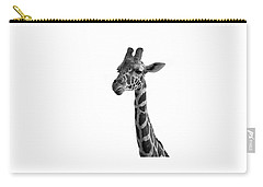 Carry-all Pouch featuring the photograph Giraffe In Black And White by James Sage