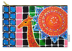 Carry-all Pouch featuring the painting Giraffe In The Bathroom - Art By Dora Hathazi Mendes by Dora Hathazi Mendes