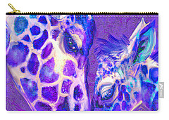 Carry-all Pouch featuring the digital art Giraffe Love 515 by Jane Schnetlage