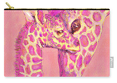 Carry-all Pouch featuring the digital art Giraffe Shades- Pink by Jane Schnetlage