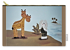 Giraffes, Elephants And Palm Trees Carry-all Pouch