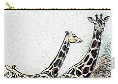 Carry-all Pouch featuring the digital art Giraffes by Pennie McCracken