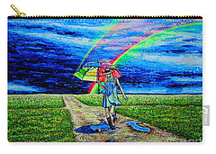 Carry-all Pouch featuring the painting Girl And Puddle by Viktor Lazarev