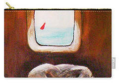 Carry-all Pouch featuring the painting Girl At The Beach by Winsome Gunning