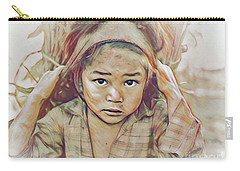 Girl Carrying Firewood In Nepal Carry-all Pouch