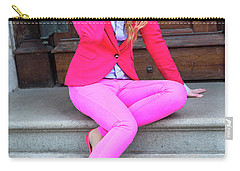 Girl Dressing In Pink Carry-all Pouch
