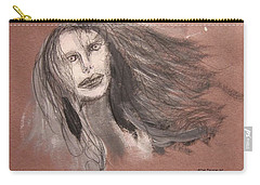 Girl In Mixed Media Carry-all Pouch