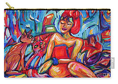 Girl In Red Towel And Cats Carry-all Pouch by Dianne  Connolly