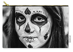 Carry-all Pouch featuring the photograph Girl In Skull Facepaint by John Williams