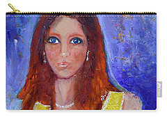 Carry-all Pouch featuring the painting Girl In Yellow Dress by Claire Bull