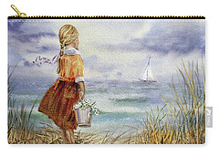 Carry-all Pouch featuring the painting Girl Ocean Shore Birds And Seashell by Irina Sztukowski