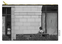 Girl On A Bench, New Village Carry-all Pouch by Steve Gravano