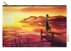 Carry-all Pouch featuring the painting Girl Watching Sunset At The Lake by Irina Sztukowski