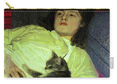 Girl With A Cat 1882 Carry-all Pouch