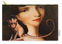 Girl With A Pet Monkey Carry-all Pouch