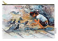Carry-all Pouch featuring the painting Girl With Birds by Kovacs Anna Brigitta