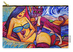 Girl With Blue Stockings And Pink Pussy Cat Carry-all Pouch by Dianne  Connolly