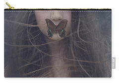 Girl With Butterfly Over Lips Carry-all Pouch