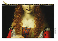 Carry-all Pouch featuring the painting Girl With Cherries by Giovanni De Predis
