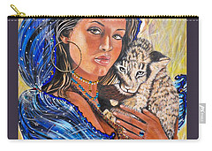 Girl With Lion Cub Carry-all Pouch