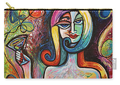 Carry-all Pouch featuring the painting Girl With Martini Cocktail Abstract by Genevieve Esson