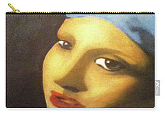 Carry-all Pouch featuring the painting Girl With Pearl Earring Face by Jayvon Thomas