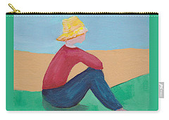 Carry-all Pouch featuring the painting Girl With Straw Hat by Patricia Cleasby