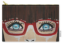 Carry-all Pouch featuring the painting Girl With The Red Glasses by Kathleen Sartoris