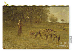 Girl With Turkeys Carry-all Pouch by George Fuller