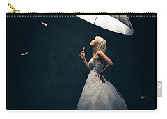Girl With Umbrella And Falling Feathers Carry-all Pouch