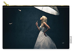 Girl With Umbrella And Falling Feathers Carry-all Pouch by Johan Swanepoel