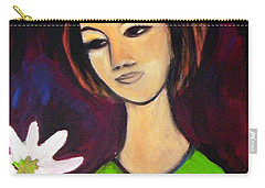 Carry-all Pouch featuring the painting Girl With White Flower by Winsome Gunning