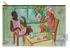 Carry-all Pouch featuring the painting Girlfriends' Teatime V by Xueling Zou