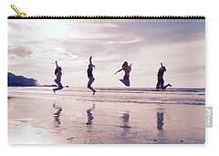 Girls Jumping On Lofoten Beach Carry-all Pouch by Tamara Sushko