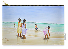 Girls On The Beach Carry-all Pouch by Patricia Piffath