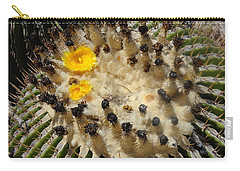 Giving Birth Barrel Cactus Yellow Flowers Carry-all Pouch